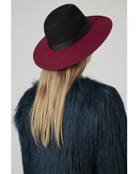 Topshop Red Colour-block Fedora - Lyst