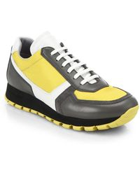 Prada Colorblock Leather & Fabric Sneakers - Lyst