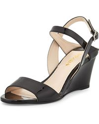 Prada Patent Wedge Anklestrap Sandal - Lyst
