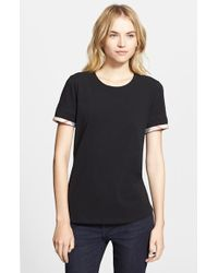 Burberry Brit Check Trim Tee - Lyst