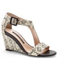 French Connection Black & White Unice Wedge Sandals - Lyst