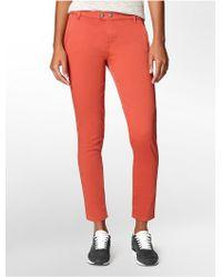 Calvin Klein Jeans Skinny Sateen Ankle Pants - Lyst