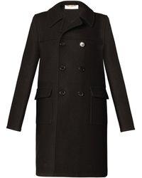 Saint Laurent Raw Wool Pea Coat - Lyst