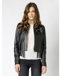 Patrizia Pepe Short Jacket With Fringing In Light Lamb Nappa Leather - Lyst
