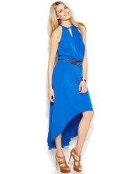 Michael Kors Michael Belted High-Low Halter Dress - Lyst