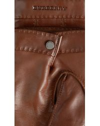 Burberry - Leather Touch Screen Gloves - Lyst