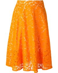 MSGM Lace Pleated Skirt - Lyst