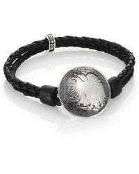 King Baby Studio Braided Leather & Liberty Half Dollar Bracelet black - Lyst