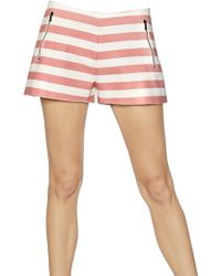 DROMe - Striped Nappa Leather Shorts - Lyst