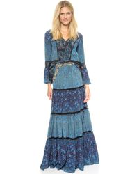 Marchesa Voyage - Tiered Maxi Skirt - Feather/Degrade - Lyst