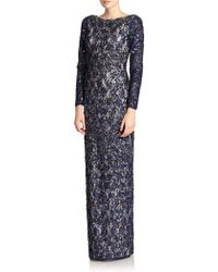 Aidan Mattox Beaded Lace Column Gown - Lyst
