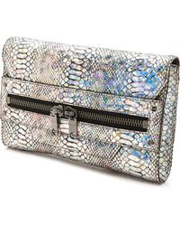 Milly Hologram Python Clutch - Silver - Lyst