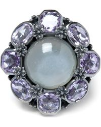 Stephen Dweck - Grey Moonstone And Amethyst Flower Ring - Lyst