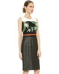 J. Mendel Mixed Texture Sheath Dress - Ivoiremintnoir - Lyst