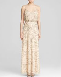 Adrianna Papell Gown - Sleeveless Deco Beaded Blouson - Lyst