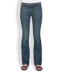 Saint Laurent Flared Patch-Pocket Jeans - Lyst