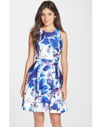 Vince Camuto Floral Print Stretch Cotton Fit & Flare Dress - Lyst