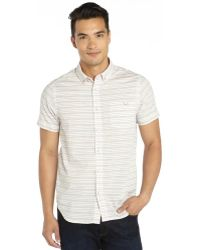 Howe White and Blue Striped Cotton Woven Short Sleeve Jump Lo Mix Shirt - Lyst