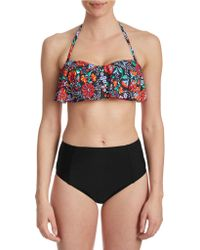 cb4bbce362 ASOS Recycled Fuller Bust Mix And Match Supportive Strappy Back Bikini Top  In Leopard Print Dd-g in Brown - Lyst