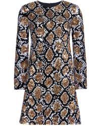 Saint Laurent Sequin-embellished Silk Dress - Lyst