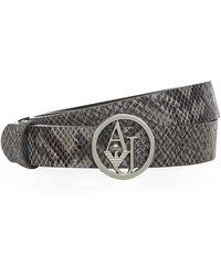 Armani Jeans Logo Buckle Snake Print Belt - Lyst