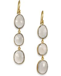 Lena Skadegard - Grey Moonstone & 18k Yellow Gold Triple Drop Earrings - Lyst