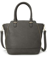 Forever 21 Zippered Faux Leather Satchel - Lyst