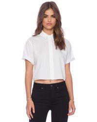 T By Alexander Wang Ripstop Poplin Short Sleeve Cropped Shirt - Lyst