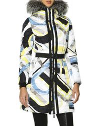 Emilio Pucci Belted Fur-trimmed Hood Quilted Coat with Print - Lyst