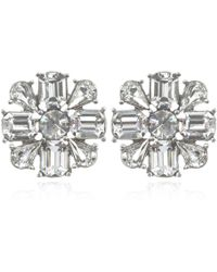 Ben-amun Bridal Crystal Flower Earrings - Lyst