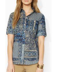 Ralph Lauren Lauren Patchwork Print Shirt - Lyst