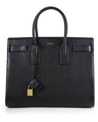 Saint Laurent Small Grained Leather Sac De Jour Tote - Lyst