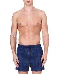 Hugo Boss Checkered Swim Shorts Navy - Lyst