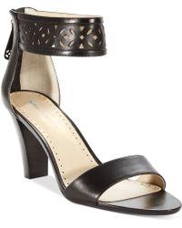 Adrienne Vittadini Black Sereen Sandals - Lyst