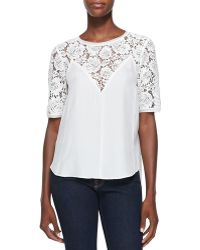 Rebecca Taylor Lace-top Silk Blouse - Lyst