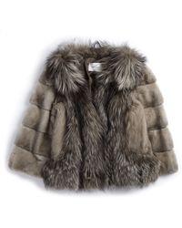 Yves Salomon Mink/ Fox Fur Coat brown - Lyst