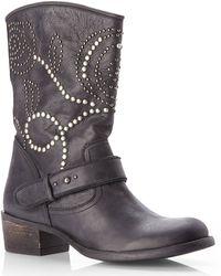 Guess Black Esperanz Studded Western Boots - Lyst