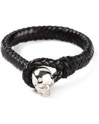 Alexander McQueen Woven Skull Bracelet - Lyst