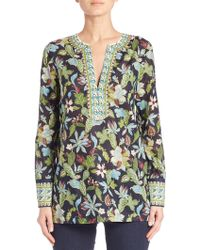 Tory Burch | Embellished Floral-print Tunic | Lyst