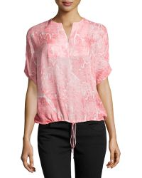 Halston Heritage Oversized Printed Drawstring Top - Lyst