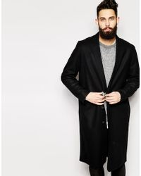 Asos Wool Overcoat With Raw Edges - Lyst