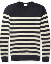 Saint Laurent Striped Cashmere Sweater - Lyst