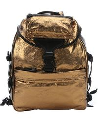 Alexander McQueen Gold Metallic Leather Tech Backpack - Lyst