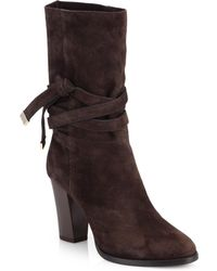 Jimmy Choo Suede Mid-Calf Boots - Lyst