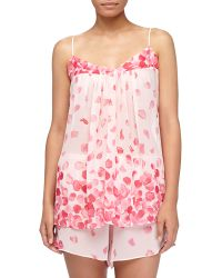 Oscar de la Renta Rose Petals Chiffon Tappant Pajamas - Lyst