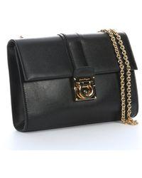 Ferragamo Black Leather Front Fold Flap Shoulder Bag - Lyst
