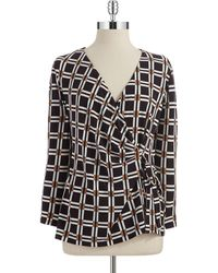 Anne Klein Patterned Wrap Font Top - Lyst