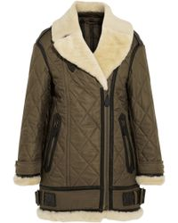Burberry Brit - Shearling Trimmed Quilted Shell Coat - Lyst