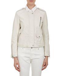 Nili Lotan Leather Collarless Moto Jacket - Lyst