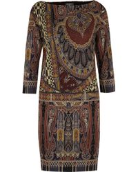 Etro Paisleyprint Stretchcrepe Dress - Lyst